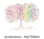 big tree hand drawing... | Shutterstock .eps vector #566758060