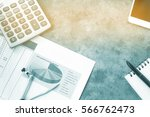 business table.documents... | Shutterstock . vector #566762473