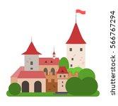 cartoon castle. isolated vector ... | Shutterstock .eps vector #566767294