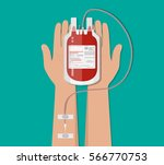 bag with blood and hand of... | Shutterstock .eps vector #566770753