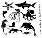 black silhouettes sea creatures ... | Shutterstock .eps vector #566777098