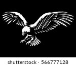 eagle emblem isolated on black... | Shutterstock .eps vector #566777128