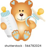 baby boy teddy bear with baby... | Shutterstock .eps vector #566782024