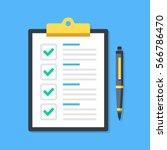 clipboard with green ticks... | Shutterstock .eps vector #566786470