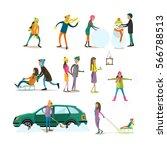 vector set of characters...   Shutterstock .eps vector #566788513