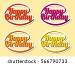 happy birthday  hand lettering  ... | Shutterstock .eps vector #566790733