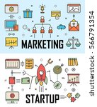 vector set of marketing and... | Shutterstock .eps vector #566791354