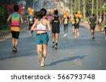 back young woman runner running ...   Shutterstock . vector #566793748