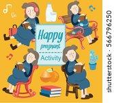 set of happy pregnant activity  ... | Shutterstock .eps vector #566796250