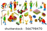 isometric barley farmer people... | Shutterstock .eps vector #566798470