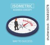 isometric businessman standing... | Shutterstock .eps vector #566810578