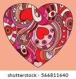 st. valentines day   heart... | Shutterstock .eps vector #566811640