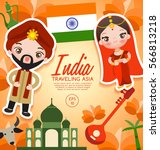 traveling asia   india tourist... | Shutterstock .eps vector #566813218