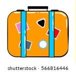 valise cartoon sticker in retro ... | Shutterstock .eps vector #566816446