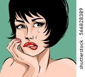 pop art comics style crying... | Shutterstock .eps vector #566828389