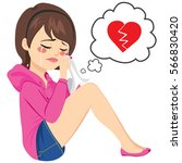 young sad woman crying sitting... | Shutterstock .eps vector #566830420