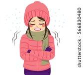 young woman freezing wearing... | Shutterstock .eps vector #566830480
