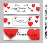 happy valentines day banners... | Shutterstock .eps vector #566836843