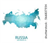 russia map   blue geometric... | Shutterstock .eps vector #566837554