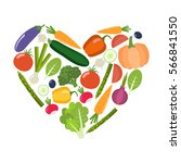 veg heart. organic farm...   Shutterstock .eps vector #566841550