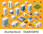 Cityscape design elements with isometric building city map generator. 3D flat icon set. Isolated collection  for creating your perfect road, park, transport, trees, infrastructure | Shutterstock vector #566843890