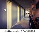 corridor in hotel building with ... | Shutterstock . vector #566844004