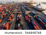 container container ship in... | Shutterstock . vector #566848768
