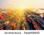 container container ship in... | Shutterstock . vector #566848840