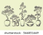 a set of isolated bonsai trees. ... | Shutterstock .eps vector #566851669