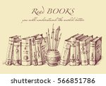 books and writing tools in... | Shutterstock .eps vector #566851786