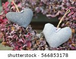 Two Wool Grey Hearts  Dried...