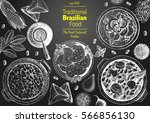 brazilian cuisine top view... | Shutterstock .eps vector #566856130