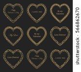 valentine's day vintage gold... | Shutterstock .eps vector #566862670