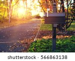 Mail box in the autumn village. ...