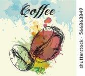 coffee beans  watercolor | Shutterstock .eps vector #566863849