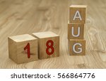 cube shape calendar for august... | Shutterstock . vector #566864776