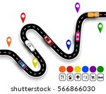 winding road with signs. the... | Shutterstock .eps vector #566866030