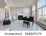 luxury high ceiling living room ... | Shutterstock . vector #566869174