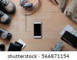 overhead view of traveler's... | Shutterstock . vector #566871154