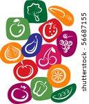 white vegetable and fruit icons ... | Shutterstock .eps vector #56687155