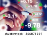 businesswoman tracking stock... | Shutterstock . vector #566875984