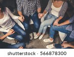 young people are sitting in... | Shutterstock . vector #566878300