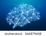 digital x ray human brain on... | Shutterstock . vector #566879608