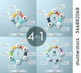 bundle of 4 modern infographic... | Shutterstock .eps vector #566882068
