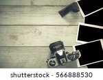 Stock photo cameras and image film image space to insert your image in vintage color 566888530
