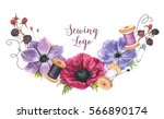 hand drawn watercolor sewing... | Shutterstock . vector #566890174