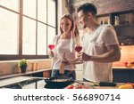 beautiful couple is drinking... | Shutterstock . vector #566890714