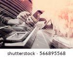 double exposure of businessman... | Shutterstock . vector #566895568