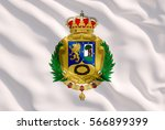 Madrid Coat of Arms on White Flag
