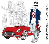 handsome guy in stylish clothes.... | Shutterstock .eps vector #566913073